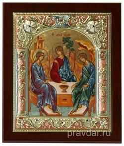 Святая Троица, икона 14х17 см, шелкография, серебряный оклад, золочение, цветная эмаль, кристаллы Swarovski - фото 7859