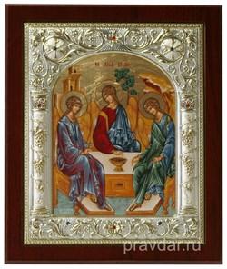 Святая Троица, икона 14х17 см, шелкография, серебряный оклад, золочение+, кристаллы Swarovski - фото 7861
