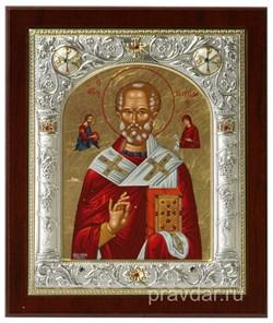 Николай Чудотворец, икона 14х17 см, шелкография, серебряный оклад, золочение, кристаллы Swarovski - фото 7875