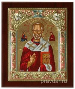 Николай Чудотворец, икона 14х17 см, шелкография, серебряный оклад, золочение, цветная эмаль, кристаллы Swarovski - фото 7877