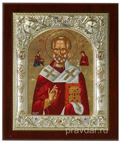 Николай Чудотворец, икона 14х17 см, шелкография, серебряный оклад, золочение+, кристаллы Swarovski - фото 7879