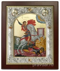 Георгий Победоносец, икона 14х17 см, шелкография, серебряный оклад, золочение, кристаллы Swarovski - фото 7881