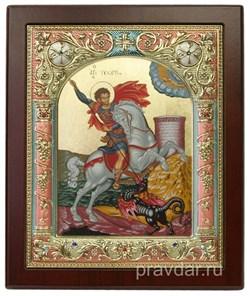 Георгий Победоносец, икона 14х17 см, шелкография, серебряный оклад, золочение, цветная эмаль, кристаллы Swarovski - фото 7883