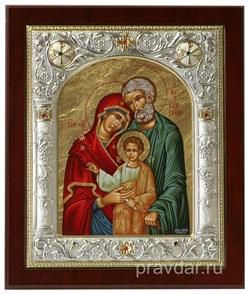 Святое Семейство, икона 14х17 см, шелкография, серебряный оклад, золочение, кристаллы Swarovski - фото 7887