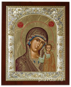 Казанская Божья Матерь, икона 24х29 см, шелкография, серебряный оклад, золочение, кристаллы Swarovski - фото 7900