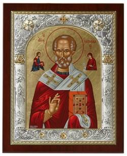 Николай Чудотворец, икона 24х29 см, шелкография, серебряный оклад, золочение, кристаллы Swarovski - фото 7907
