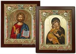 Венчальная пара, иконы 14х17 см, шелкография, серебряный оклад, золочение, цветная эмаль, кристаллы Swarovski (Владимирская) - фото 7914