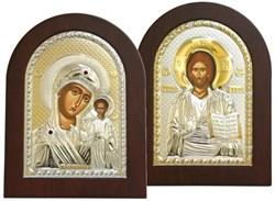 Венчальная пара, греческие иконы, серебряный оклад с золочением (Казанская) - фото 7929