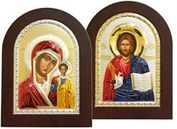 Венчальная пара, греческие иконы, серебряный оклад с золочением и эмалью (Казанская) - фото 7932