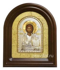 Спас Вседержитель, серебряная икона в деревянном киоте, золочение - фото 7936