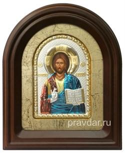 Спас Вседержитель, серебряная икона в деревянном киоте, золочение, цветная эмаль - фото 7938