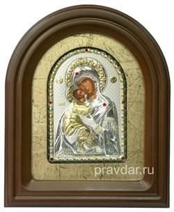 Владимирская Божья Матерь, серебряная икона в деревянном киоте, золочение - фото 7940