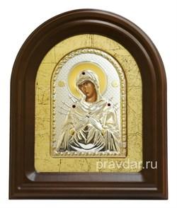 Семистрельная Божья Матерь, серебряная икона в деревянном киоте, золочение - фото 7948
