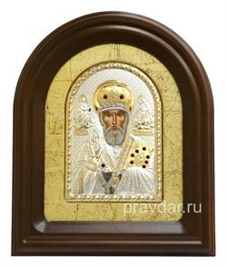 Николай Чудотворец, серебряная икона в деревянном киоте, золочение - фото 7956