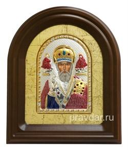 Николай Чудотворец, серебряная икона в деревянном киоте, золочение, цветная эмаль - фото 7958