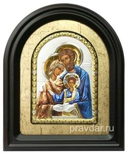 Святое семейство, серебряная икона в деревянном киоте, золочение, цветная эмаль - фото 7966