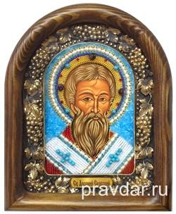 Арсений Сербский, дивеевская икона из бисера ручной работы - фото 8009