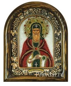 Никита Преподобный, дивеевская икона из бисера ручной работы - фото 8028