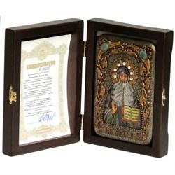 Максим Грек икона ручной работы под старину Old modern (поясная) - фото 8090