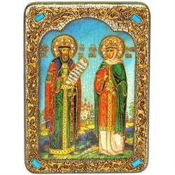 Петр и Феврония икона ручной работы Old Modern 21х29 см - фото 8137