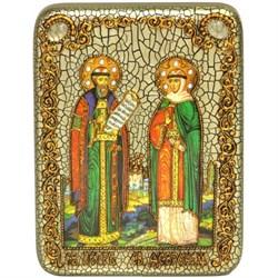 Петр и Феврония икона ручной работы Old Modern 15х20 см - фото 8144