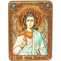 Ангел Хранитель икона на мореном дубе 21х29 см. - фото 8224