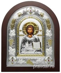 Спас Премудрый, греческая икона шелкография, серебряный оклад с виноградной лозой - фото 8235