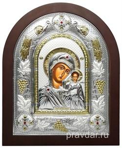 Казанская Божья Матерь, греческая икона шелкография, серебряный оклад с виноградной лозой - фото 8247