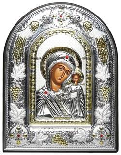 Казанская Божья Матерь, греческая икона шелкография, серебряный оклад с виноградной лозой, рамка в коже - фото 8253