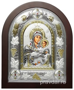 Вифлеемская Божья Матерь, греческая икона шелкография, серебряный оклад с виноградной лозой - фото 8259