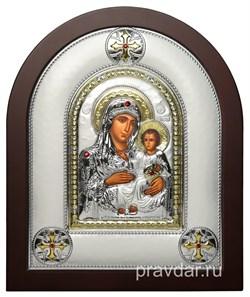 Иерусалимская Божья Матерь, греческая икона шелкография, серебряный оклад - фото 8265