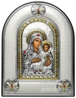 Иерусалимская Божья Матерь, греческая икона шелкография, серебряный оклад, рамка в коже - фото 8268