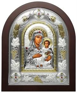 Иерусалимская Божья Матерь, греческая икона шелкография, серебряный оклад с виноградной лозой - фото 8271