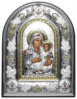 Иерусалимская Божья Матерь, греческая икона шелкография, серебряный оклад с виноградной лозой, рамка в коже - фото 8274