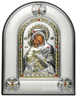 Владимирская Божья Матерь, греческая икона шелкография, серебряный оклад, рамка в коже - фото 8280