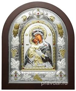 Владимирская Божья Матерь, греческая икона шелкография, серебряный оклад с виноградной лозой - фото 8283
