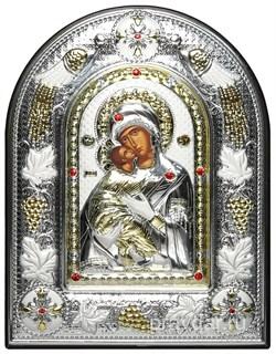 Владимирская Божья Матерь, греческая икона шелкография, серебряный оклад с виноградной лозой, рамка в коже - фото 8286