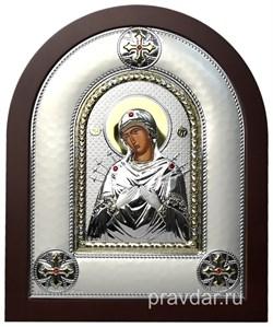 Семистрельная Божья Матерь, греческая икона шелкография, серебряный оклад - фото 8289