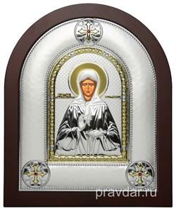 Матрона Московская, греческая икона шелкография, серебряный оклад - фото 8304