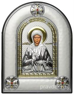 Матрона Московская, греческая икона шелкография, серебряный оклад, рамка в коже - фото 8307