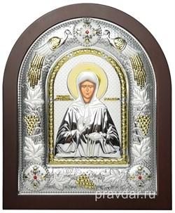 Матрона Московская, греческая икона шелкография, серебряный оклад с виноградной лозой - фото 8310