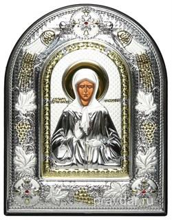 Матрона Московская, греческая икона шелкография, серебряный оклад с виноградной лозой, рамка в коже - фото 8313