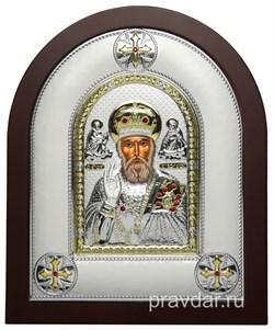 Николай Чудотворец, греческая икона шелкография, серебряный оклад - фото 8316