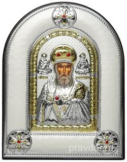 Николай Чудотворец, греческая икона шелкография, серебряный оклад, рамка в коже - фото 8319