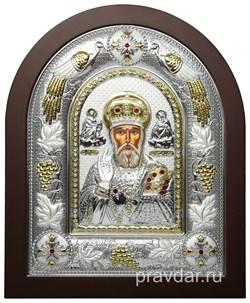 Николай Чудотворец, греческая икона шелкография, серебряный оклад с виноградной лозой - фото 8322