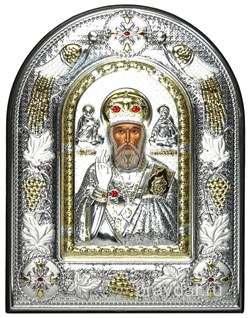 Николай Чудотворец, греческая икона шелкография, серебряный оклад с виноградной лозой, рамка в коже - фото 8325