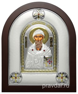 Спиридон Тримифунтский, греческая икона шелкография, серебряный оклад - фото 8328