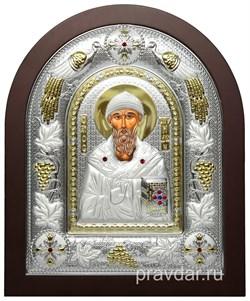 Спиридон Тримифунтский, греческая икона шелкография, серебряный оклад с виноградной лозой - фото 8334