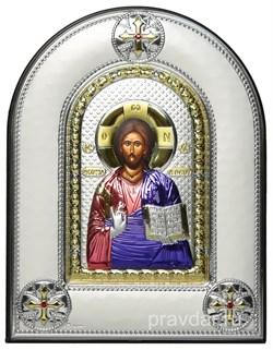 Спас Премудрый, греческая икона шелкография, серебряный оклад, цветная эмаль, рамка в коже - фото 8343