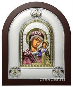 Казанская Божья Матерь, греческая икона шелкография, серебряный оклад, цветная эмаль - фото 8346